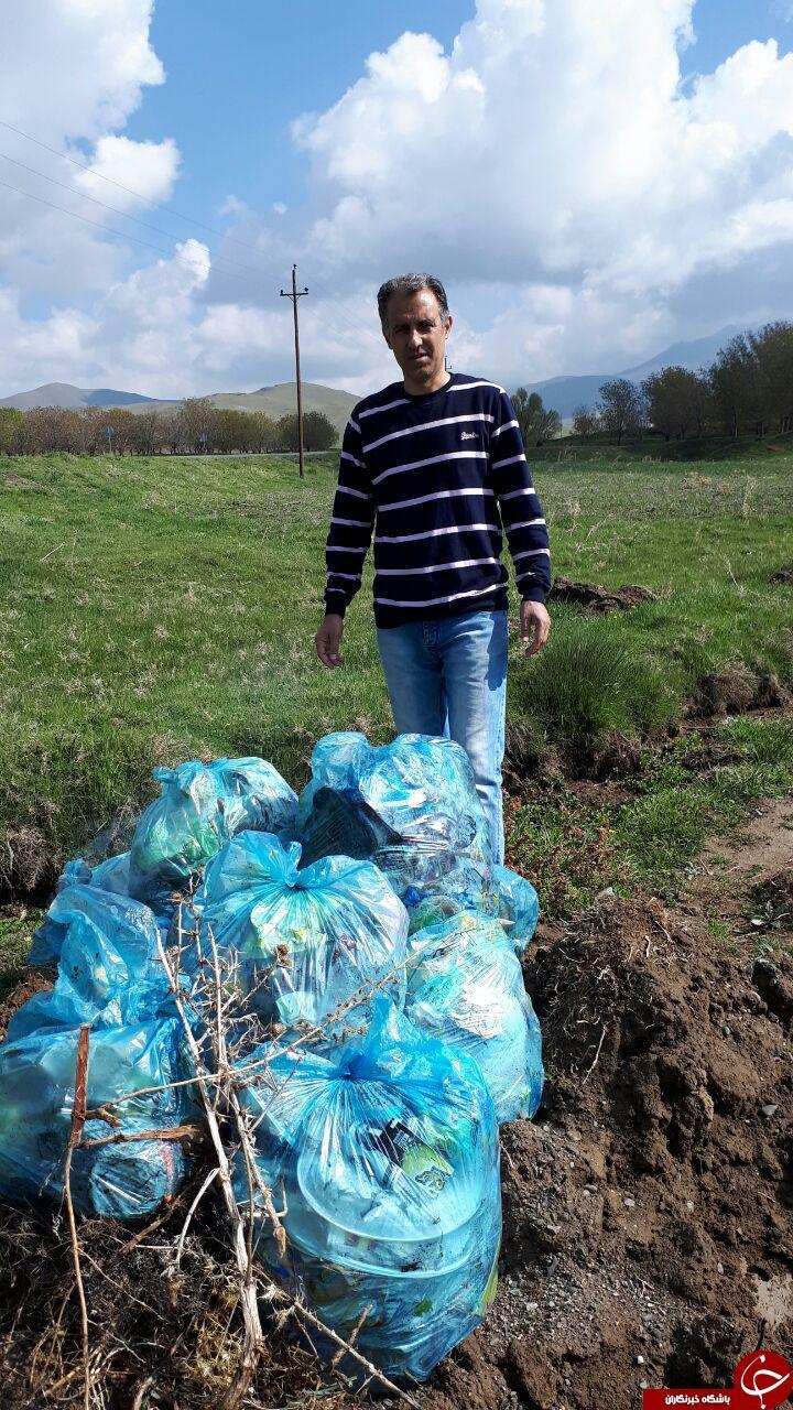 جمعآوری آشغال رودخانه توسط شهروند تویسرکانی + تصاویر