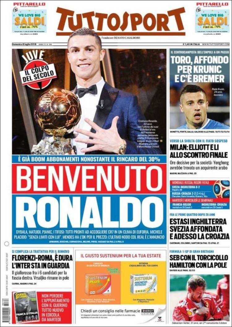 ایتالیایی ها به رونالدو خوش آمد گفتند