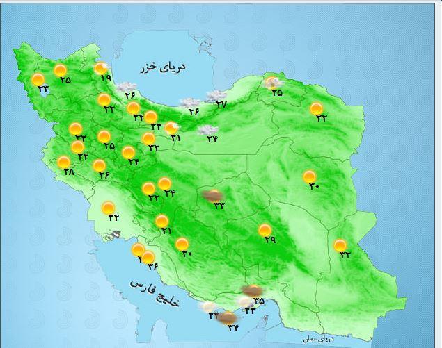 دمای ۴۹ درجه وبالاتر برای خوزستانی ها/گرد و غبار مهمان شرق کشور میشود