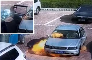 تلاش برای خاموش کردن خودروی آتش گرفته با فوت کردن! + فیلم