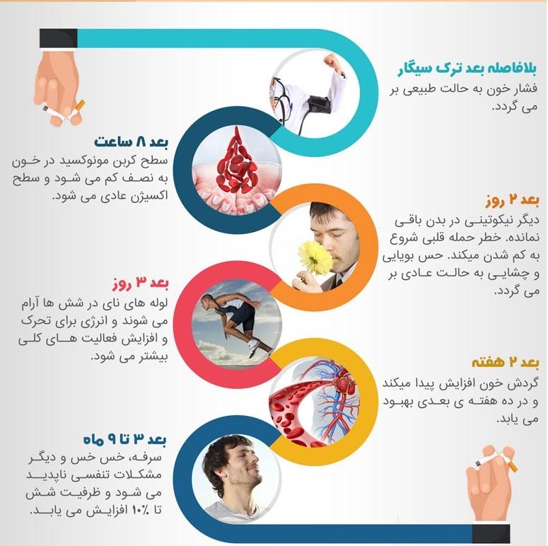 خبر زارع/// اینفوگرافیک6 مرحله سلامتی بدن بعداز ترک سیگار+اینفوگرافیک