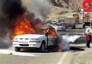 آتش گرفتن خودروی سمند در نهاوند