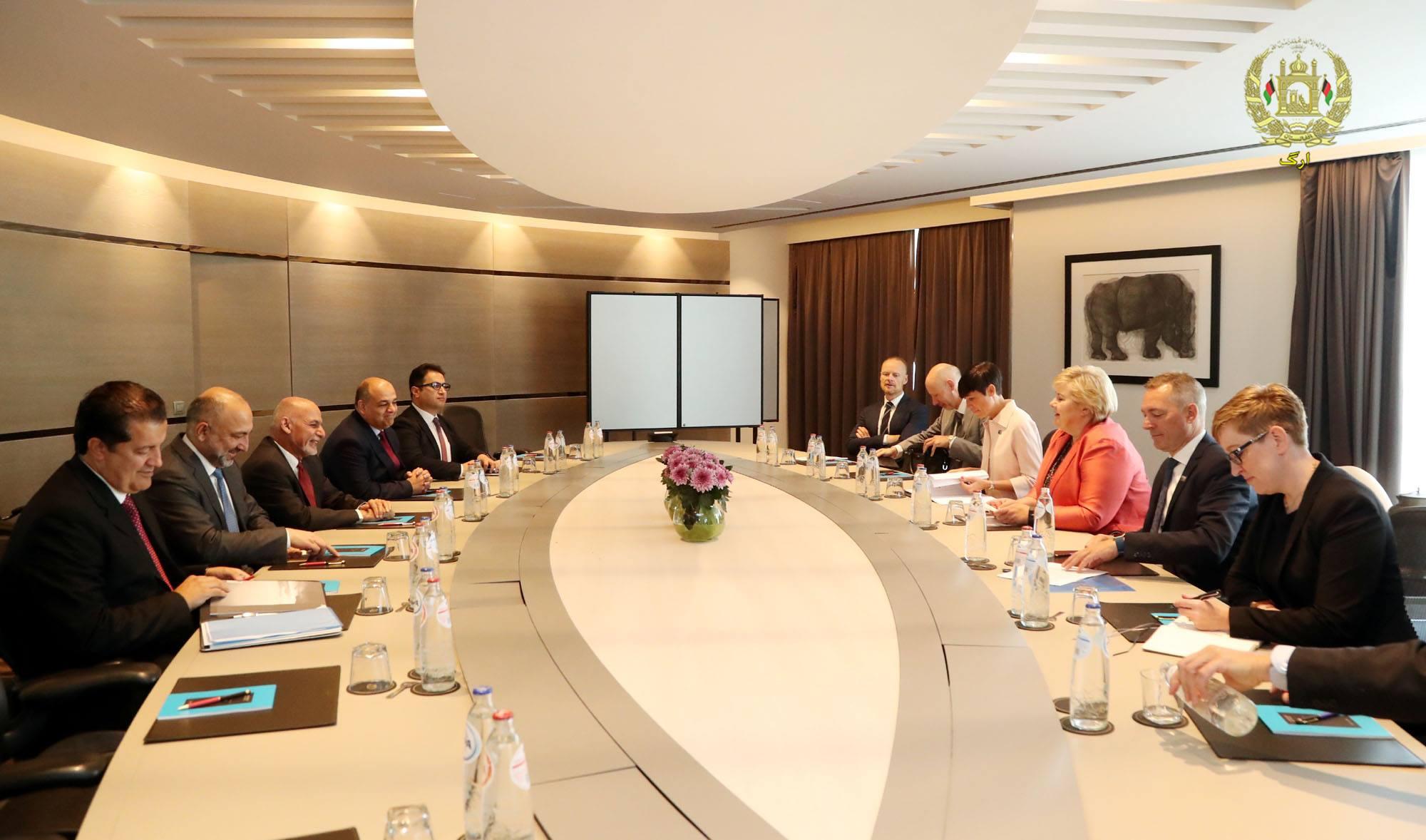 دیدار «اشرف غنی» با نخست وزیر نروژ در حاشیه نشست بروکسل