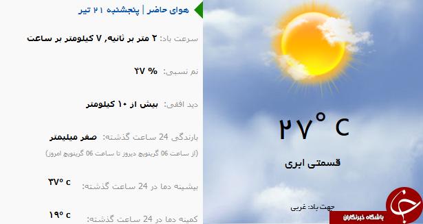 وضع هوای ارومیه پنج شنبه ۲۱ تیر ماه