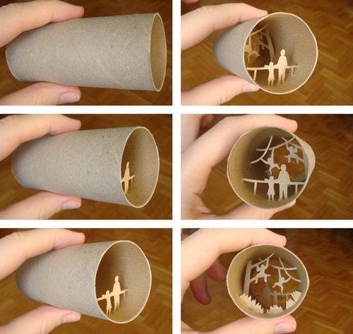 ساخت آثار هنری داخل رول دستمال کاغذی