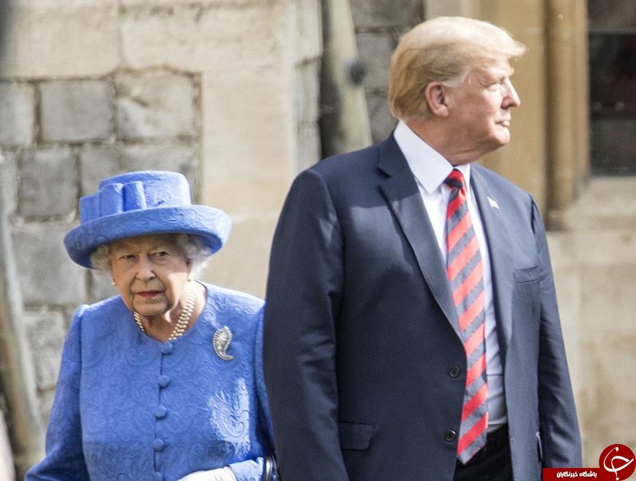 سنت شکنیهای ترامپ در دیدار با ملکه انگلیس سوژه شد! + تصاویر