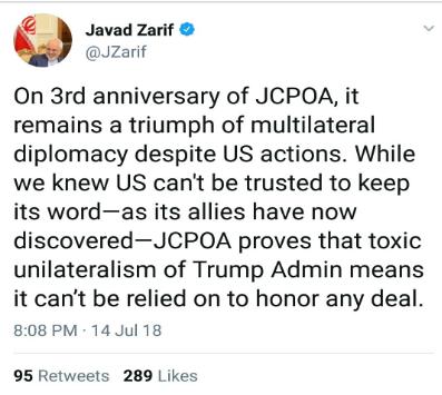 توییت ظریف: برجام همچنان پیروزی دیپلماسی چندجانبه به شمار میرود