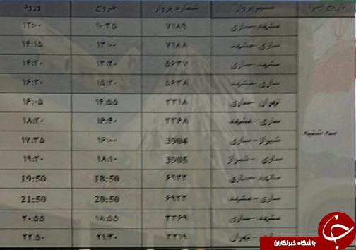 پروازهای یکشنبه ۲۴ تیرماه از فرودگاههای مازندران