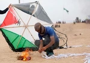 حمله هواپیماهای رژیم صهیونیستی به پرتابکنندگان بادبادک در نوار غزه