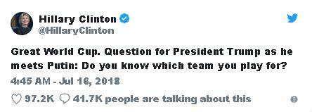 کنایه کلینتون به ترامپ در آستانه دیدار با پوتین: میدانی برای کدام تیم بازی میکنی؟