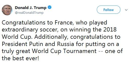 واکنش ترامپ به قهرمانی فرانسه در جام جهانی 2018
