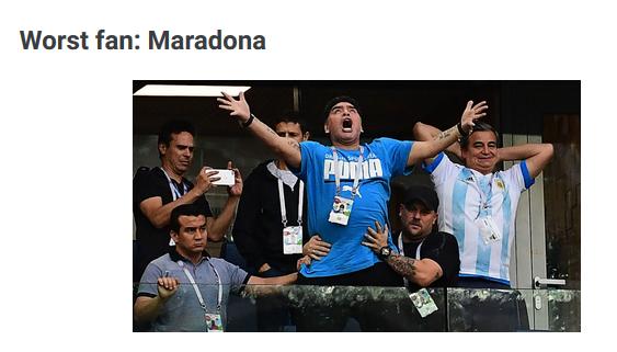 مارادونا بدترین هوادار جام جهانی 2018