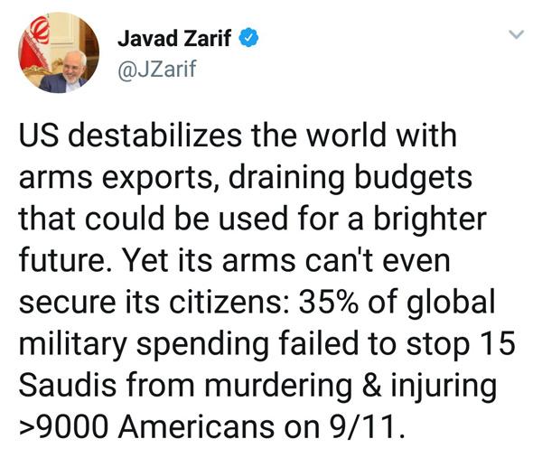 توئیت جدید ظریف درباره آمریکا