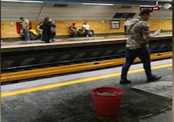 سرریز شدن فاضلاب از سقف ایستگاه مترو! + فیلم