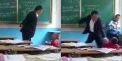 ضرب و شتم وحشیانه دانش آموز خردسال در کلاس درس به دست معلم بیرحم + فیلم