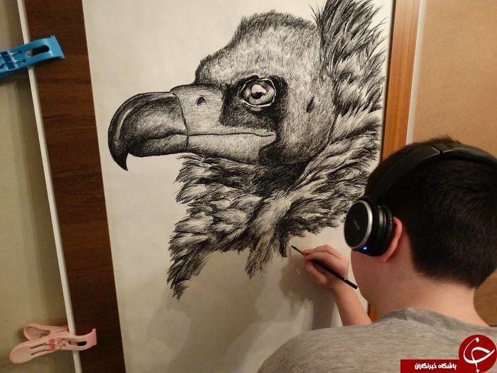 پسر نابغه ۱۳ ساله ای که نقاشی های حیرت آوری برگرفته از طبیعت میکشد+تصاویر
