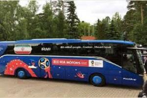 حرکت اتوبوس تیم ملی فوتبال به سمت ورزشگاه سارانسک + فیلم