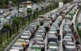 ترافیک نیمه سنگین در آزاد راه کرج- تهران/ بارش پراکنده باران در اکثر محورهای استان مازندران