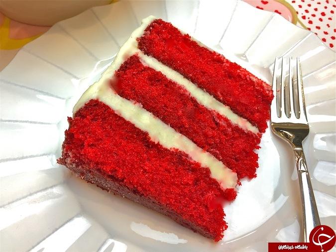 طرز تهیه کیک مخملی قرمز مخصوص ولنتاین + تصاویر