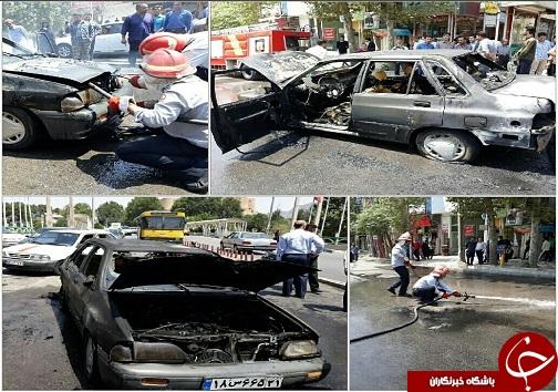 حریق یک دستگاه خودرو پراید در خیابان علوی خرم آباد+عکس