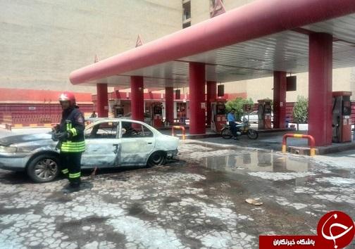 آتش گرفتن سمند در جایگاه سوخت به دلیل نقص فنی