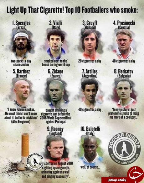 فوتبالیستهای معروف که در دوران حرفه ای خود سیگار میکشیدند+عکس