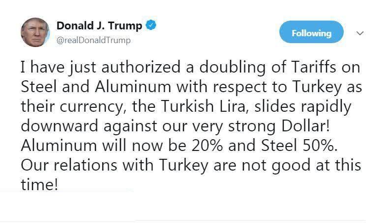 ترامپ: تعرفه واردات فولاد و آلومینیوم از ترکیه را دو برابر میکنیم