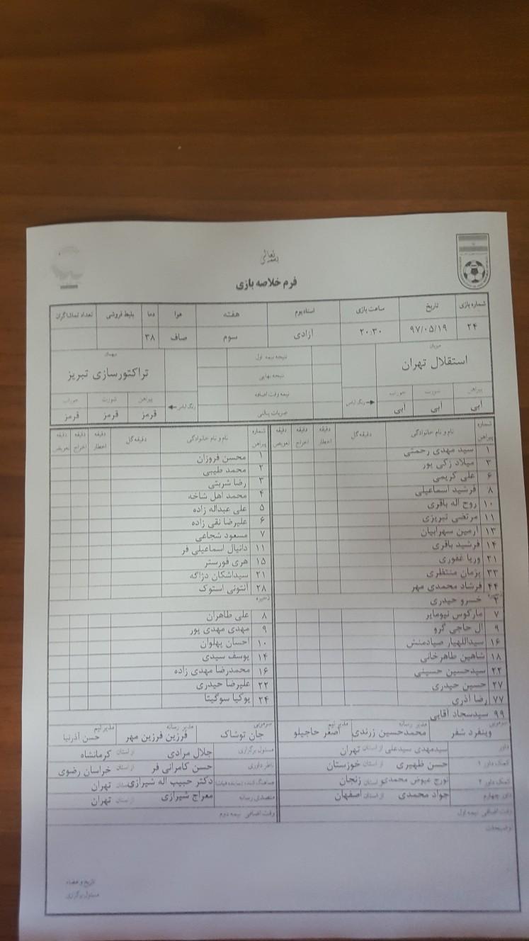 استقلال تهران ۰ - ۰ تراکتورسازی تبریز / گزارش لحظه به لحظه