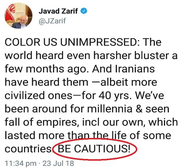ظریف در توییتر پاسخ ترامپ را داد