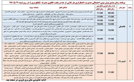 جدول زمانبندی قطع برق در نقاط مختلف استان قزوین