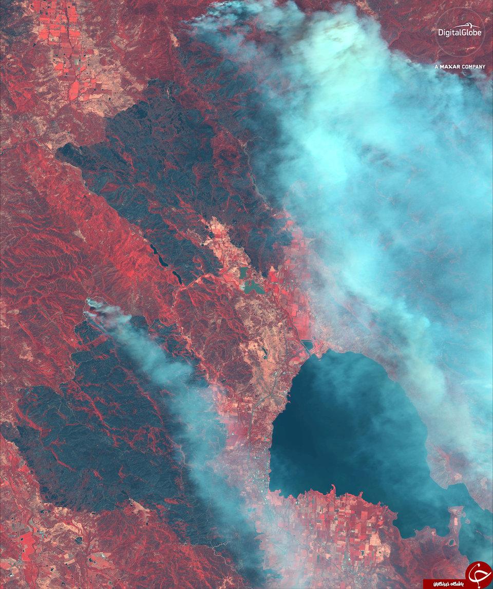تصاویر ماهوارهای از آتش سوزی وحشتناک کالیفرنیا