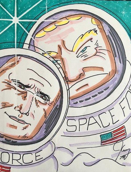 بازیگر معروف با نقاشی جدیدش «نیروی فضایی» ترامپ را کوبید