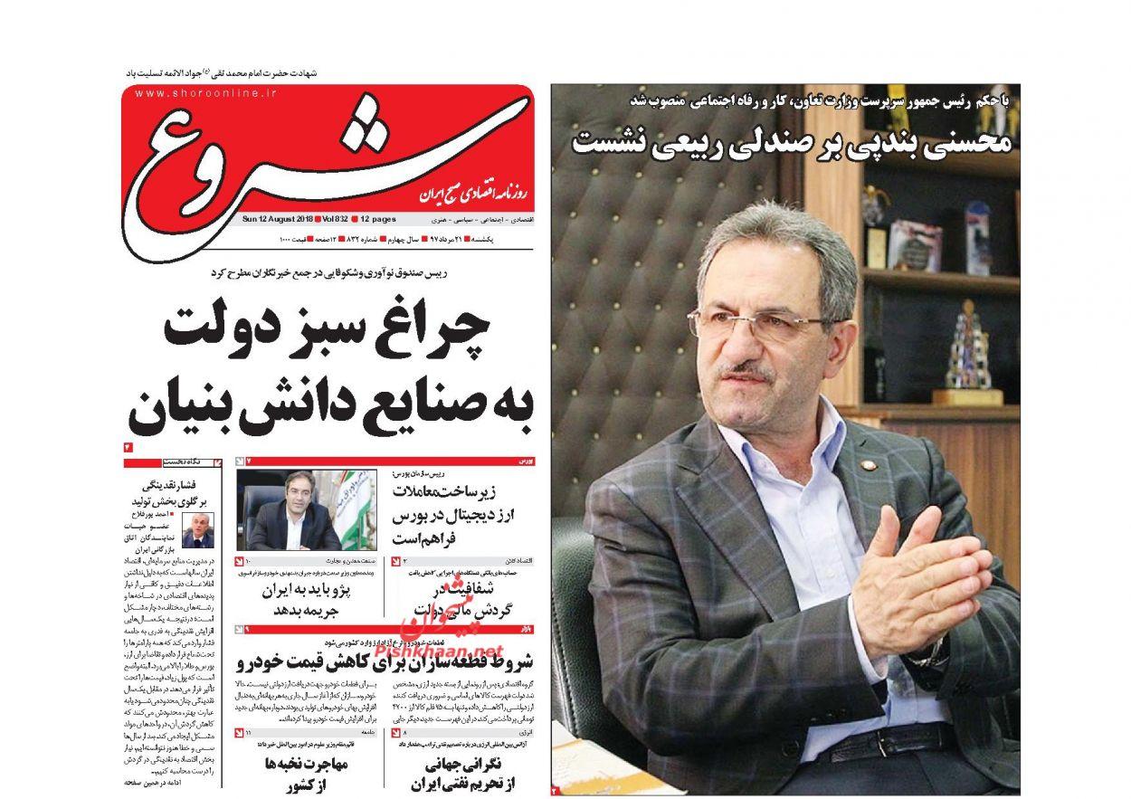 صفحه نخست روزنامه های اقتصادی 21 مردادماه