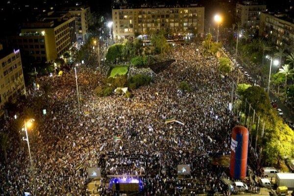 اعتراض ده ها هزار فلسطینی علیه قانون «قومیت یهود» در تل آویو