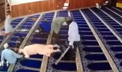 حمله ناگهانی مرد دیوانه به نمازگزاران یک مسجد! +فیلم