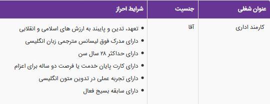استخدام کارمند اداری در یک موسسه معتبر در تهران