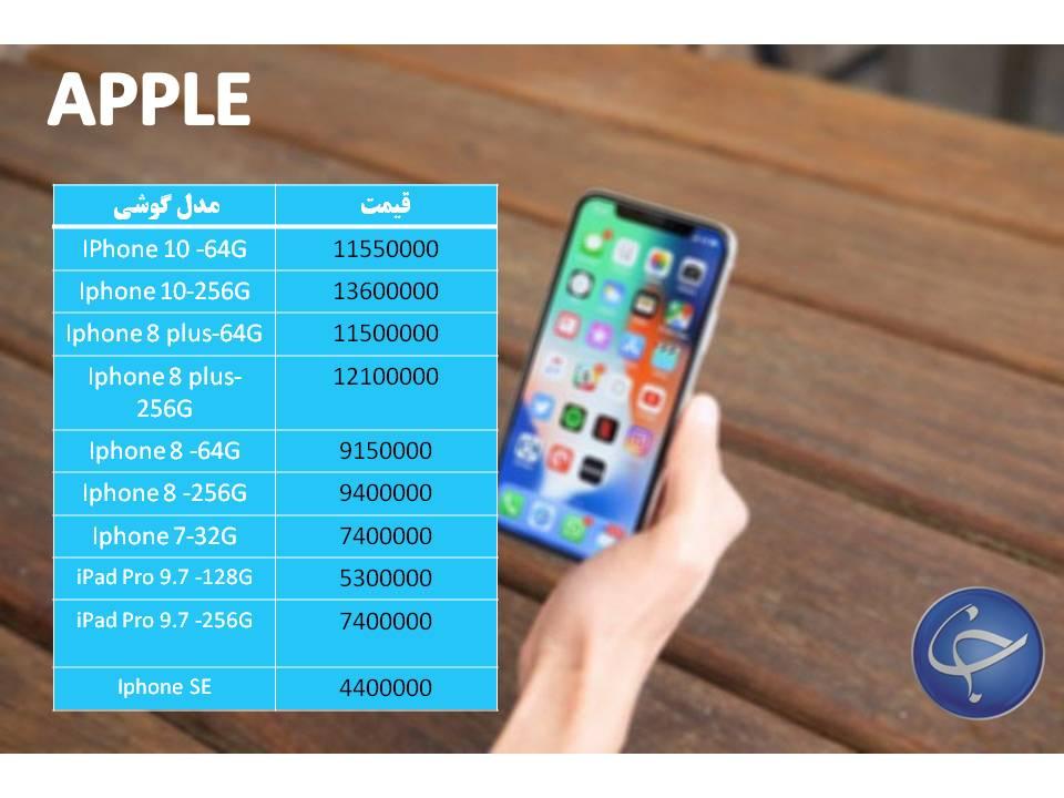 قیمت انواع تلفن همراه موجود در بازار +جدول