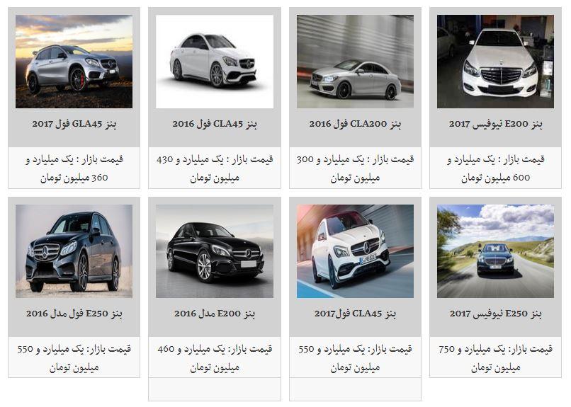 قیمت خودروهای مرسدس بنز موجود در بازار