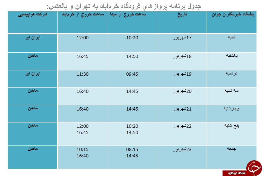 برنامه پروازهای فرودگاه خرمآباد