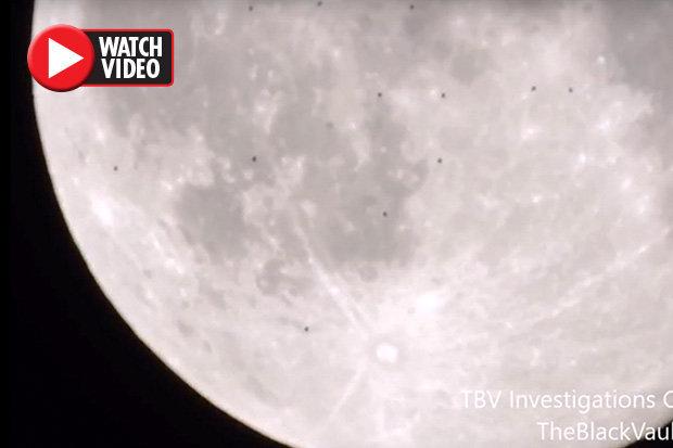 پرواز همزمان دهها یوفو از روی ماه! + فیلم//