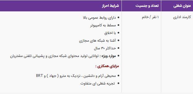 استخدام کارمند اداری خانم در مجموعه تمام در تهران