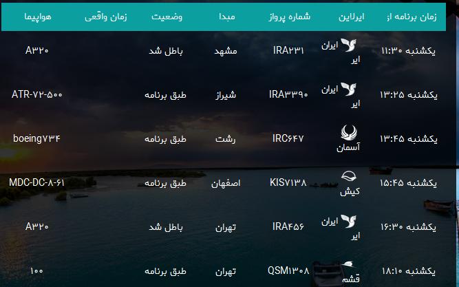 پروازهای فرودگاه بندرعباس یکشنبه ۱۸ شهریور ۹۷