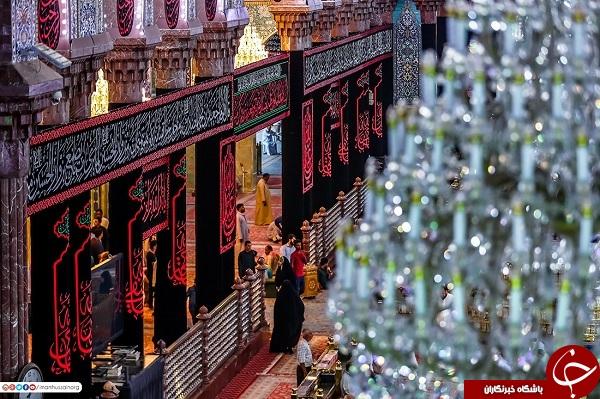 حرم امام حسین(ع) در کربلا سیاهپوش شد+عکس