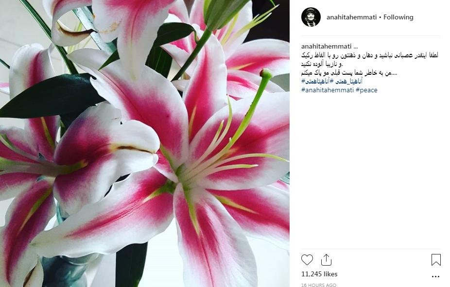 پست جنجالی آناهیتا همتی در رابطه با اعدام یک تروریست+ تصاوریر
