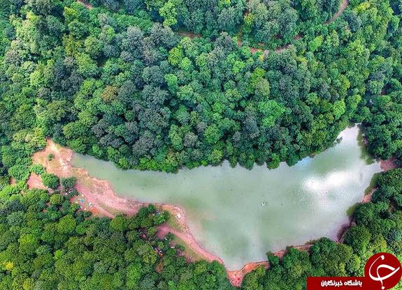 عکس هوایی زیبا از دریاچه چورت در مازندران