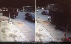 نجات معجزه آسای زن موتورسوار پس از تصادف با کامیون + فیلم