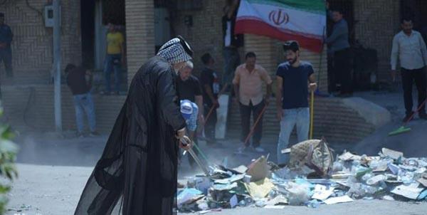 اقدام نمادین جوانان بصره در کنسولگری ایران برای نشان دادن عمق برادری دو ملت+ تصاویر