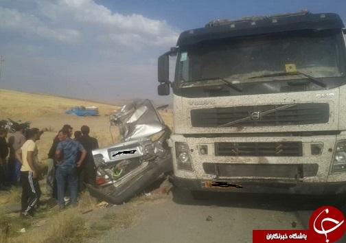 ۳ مصدوم و یک فوتی در تصادف دو خودروی پراید با کامیون محور بروجرد -نهاوند+تصاویر