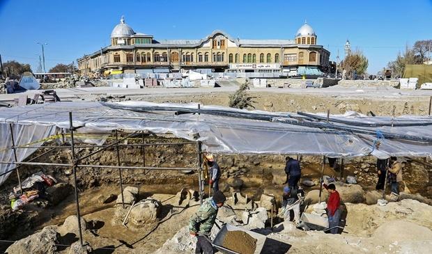 پایان کاوش های باستانی  در میدان امام خمینی(ره)