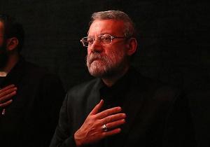 حضور لاریجانی در مراسم عزاداری مراجع تقلید